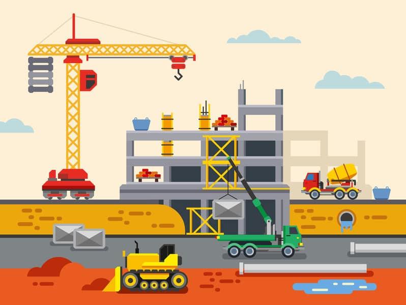 39430345 - building construction flat design vector concept illustration. concept vector illustration in flat style design. real estate concept illustration.
