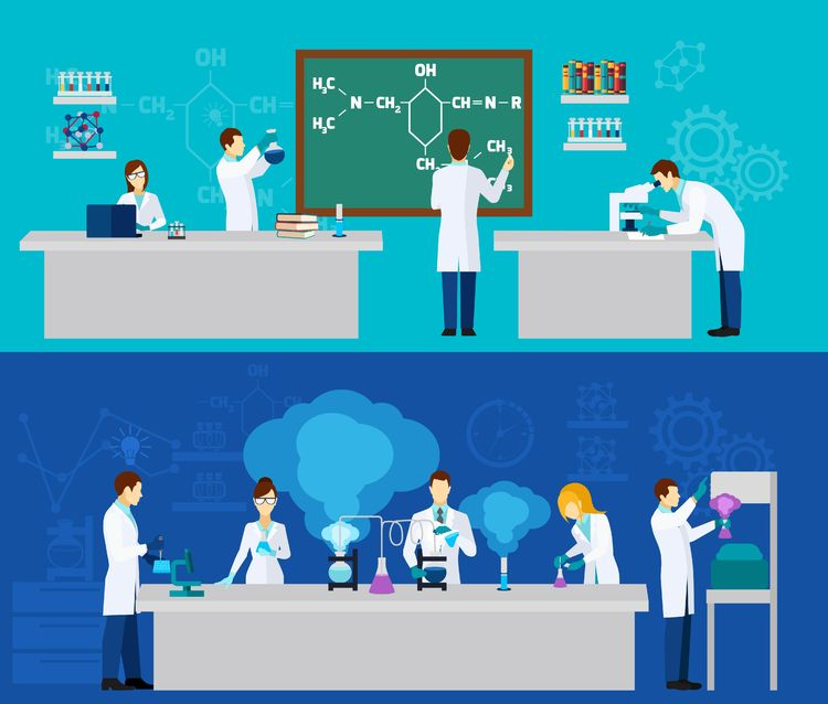 45319592 - scientist horizontal banner set with people in chemistry lab isolated vector illustration