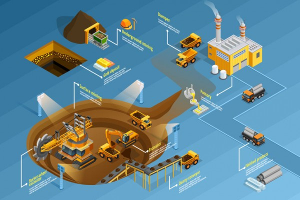 65604917 - mining infographic set with factory and deposits symbols isometric illustration