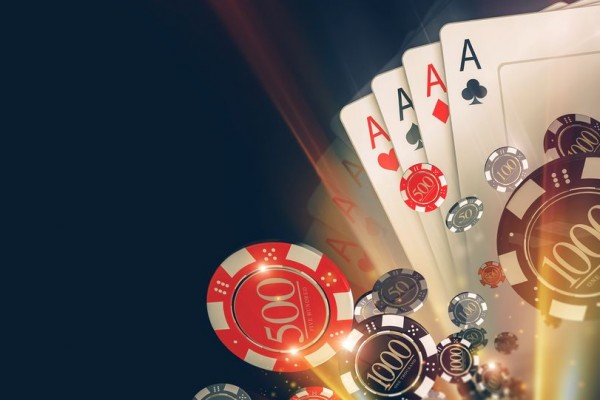 66142087 - casino poker chips background with copy space. casino games 3d illustration.