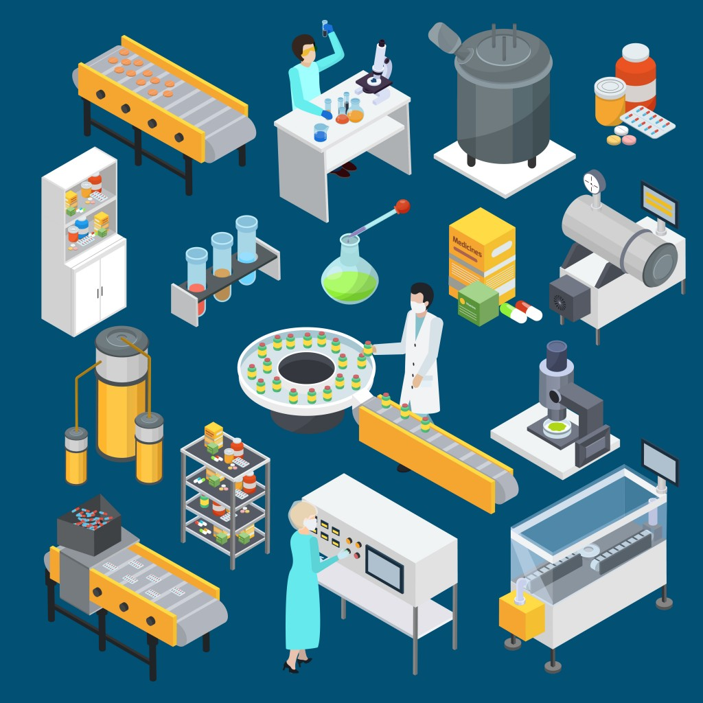 Modern pharmaceutical industry drug production isometric icons collection with scientific research and manufacturing facilities isolated vector illustration
