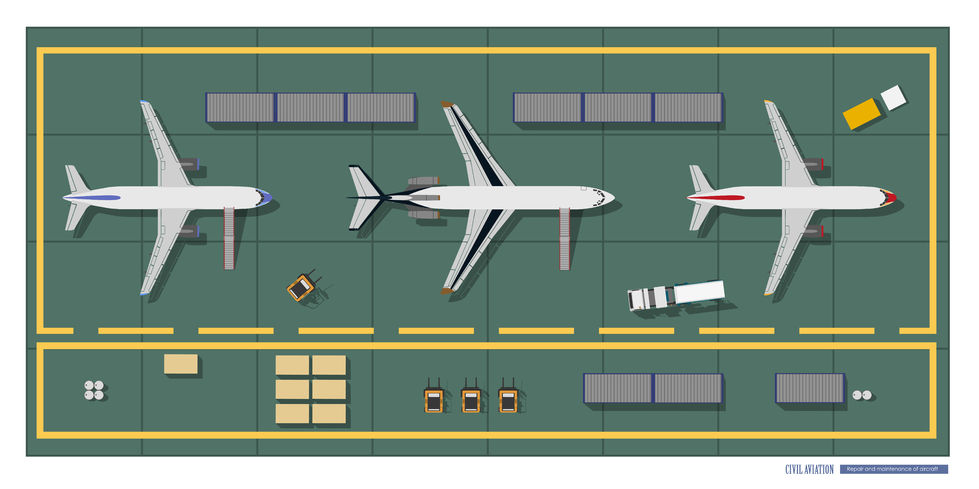 78883799 - repair and maintenance of aircraft. top view of workshop. industrial drawing in a flat style
